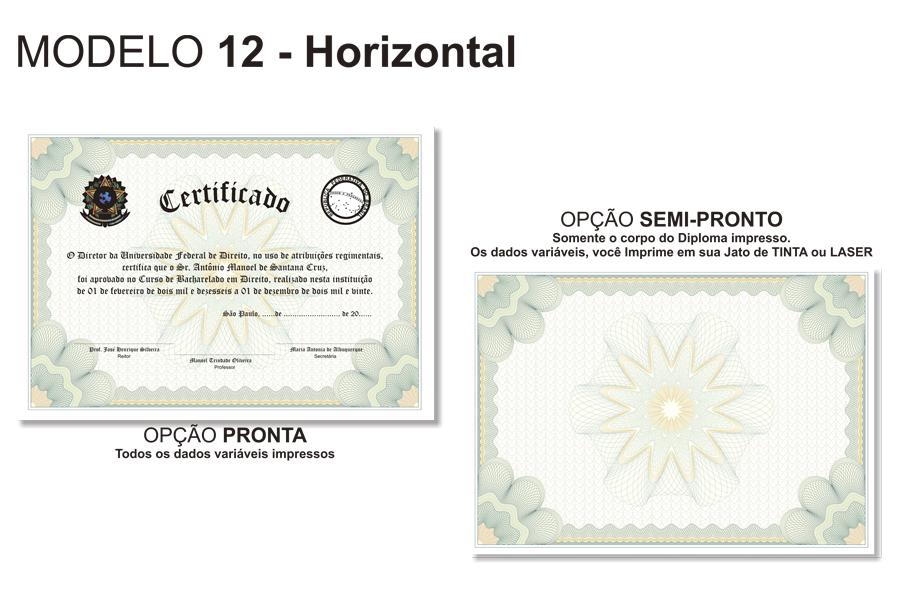 Diploma Modelo 12 Horizontal Canudos Porta Diploma